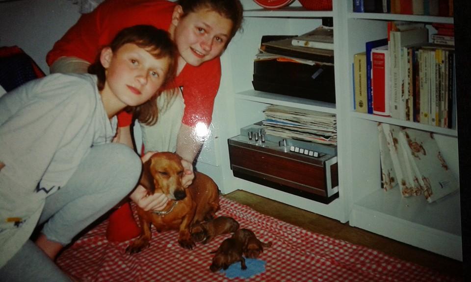 Moja  siostra i ja oraz Funia i jej szczeniaczki